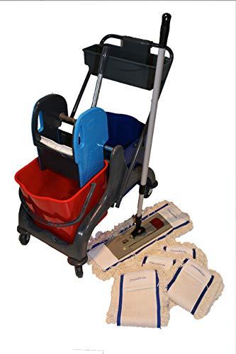 CleanSV® Aura2 Reinigungswagen mit Ablage, Wischset mit 50 cm Magic click Klapphaltersteht von alleine, 5 x 50 cm CleanSV Baumwolllmops und Telekopstiehl