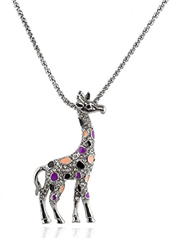 Totoroforet fashion jewellery cute giraffe necklace in plated silver and rhinestones