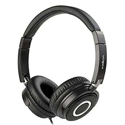 Vogek On Ear Headphones, Lightweight and Foldable Bass On Ear Headphones with Volume Control and Microphone