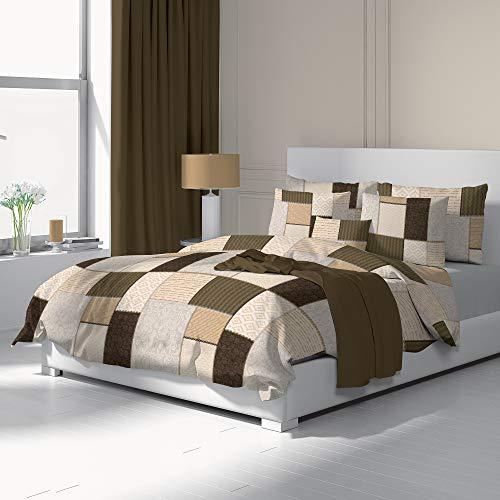 Dilios Bettwäsche Set 155x200 cm, 2-teilig, Renforce 100% Baumwolle mit Reißverschluss, Dessin Fabio beige, Öko-Tex-Standard 100, Bettbezug 155 x 200 cm, Kissenbezug 80 x 80 cm
