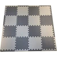 Premium Neutral Foam Baby Play Mat - Soft Grey and White Interlocking Floor Tiles, Easy Travel, 1cm Thick | Non-Toxic, Crawling, Tummy Time Mat | Neutral Colours, Play Room | Baby & Toddler. BabyCini