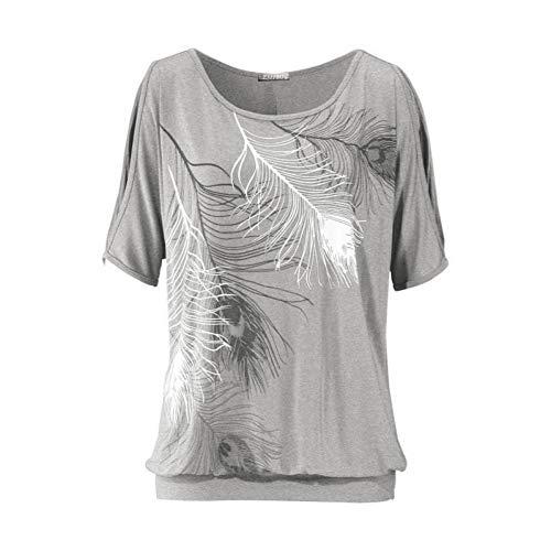 TYML Sommer Frauen Feder Gedruckt T-Shirts O-Neck Liebsten Shirts Off Schulter Kurzarm T-Shirt Lose Typ