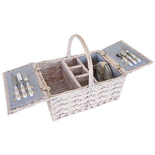 Mendler Picknickkorb-Set HWC-B12 für 4 Personen, Weiden-Korb, Porzellan Glas Edelstahl, Grau