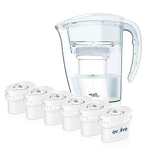 Aqua Optima Caraffa filtrante da frigorifero con 6 filtri Double Life da 60 giorni, confezione per 12 mesi [Importato da Regno Unito]