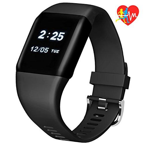 Fitness Tracker, Mpow Pulsera Inteligente Monitor de Actividad Rastreador de Frecuencia CardÍaca Sueño Pasos, Podómetro con Corriendo Modo, Alarmas, Notificaciones de Texto y Llamadas Bluetooth 4.0