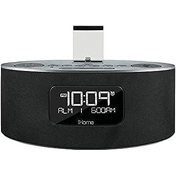 iHome IDL46BE Lightning Dock Clock Radio and USB Charge or Play (Grey)