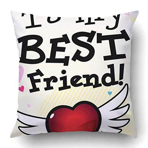 Not afraid Throw Pillow Covers Colorful Love to My Best Friend Pink Choice Forever Boy Girl Boyfriend Bright Buddies Polyester 18 X 18 inch Square Hidden Zipper Decorative Pillowcase (Bed Buddy Bear)