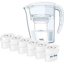 Aqua Optima UN AÑO pack - Jarra de agua de la purificación con 6 filtros de suministro de 60 días durante 1 año, blanca