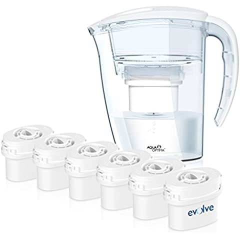 Aqua Optima UN AÑO pack - Jarra de agua de la purificación con 6 filtros de suministro de 60 días durante 1 año,