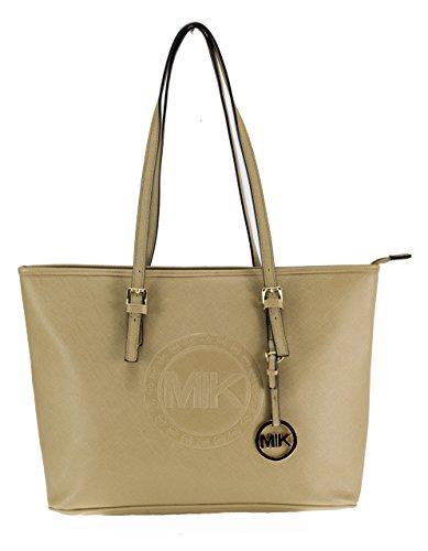 MIK Glamour Trendy Elegant Damen Schultertasche Handtasche PU-Ledertasche Grob (Khaki)