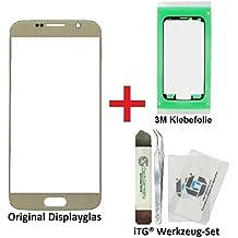 iTG® PREMIUM Juego de reparación de cristal de pantalla para Samsung Galaxy S6 Oro (Gold Platinum) – Panel táctil frontal original para SM-G920F + 3M Adhesivo precortado y iTG® Juego de herramientas