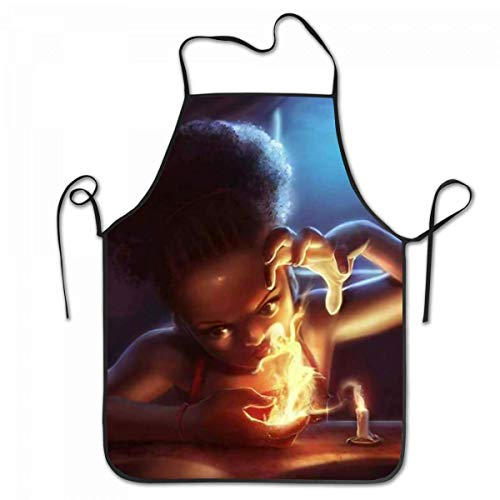 fgjhdfj Apron African American Girl Playing Fire Afro Girl Cooking Kitchen Adjustable Aprons (American Girl Puppe Eule)
