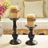 Eisen Säulenständer Kerzenhalter, Tischdekoration Kerzenständer für Hochzeit, Party, Geburtstag, Abendessen bei Kerzenlicht, vintage Kerzenständer Hausdekoration, schwarz - 5
