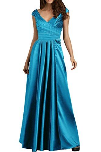 Victory Bridal Einfach Lila Blau Chiffon Brautjungfernkleider A-linie Lang Abendkleider Ballkleider Promkleider Dunkel Lila