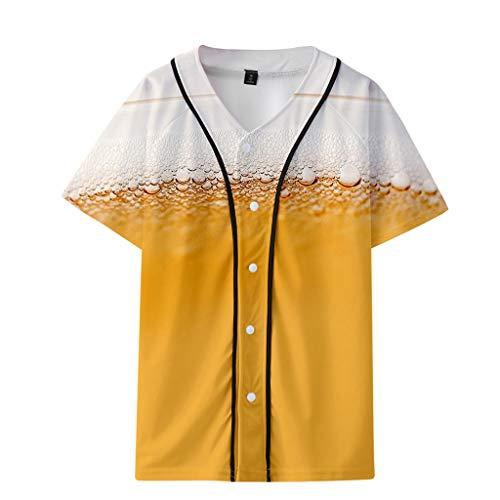 Xmiral T-Shirt Herren Bier Festival 3D Drucken Kurzarm Dünn Baseball-Kleidung Tops Sweatshirt Oberteile Mode Slim Fit Hemden Oktoberfest(Khaki,3XL) (Mickey-maus Gratis)