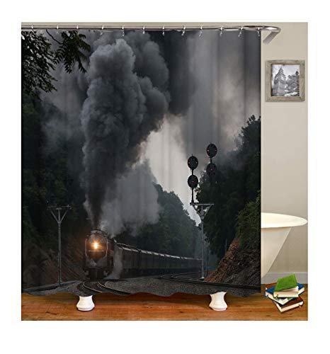 AmDxD Waschbar Polyester Duschvorhang Rauchiger Zug Muster Design Bad Vorhang Digitaldruck Badewannenvorhang - Grau mit Duschvorhangringen für Badezimmer Badewanne - Mit Grau Rüschen Duschvorhang