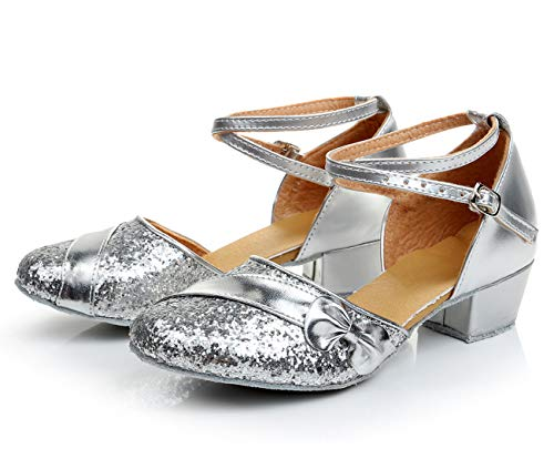 APTRO Mädchen Tanzschuhe für Latein Salsa Ballsaal Dance Schuhe mit Schleife Sliber 32