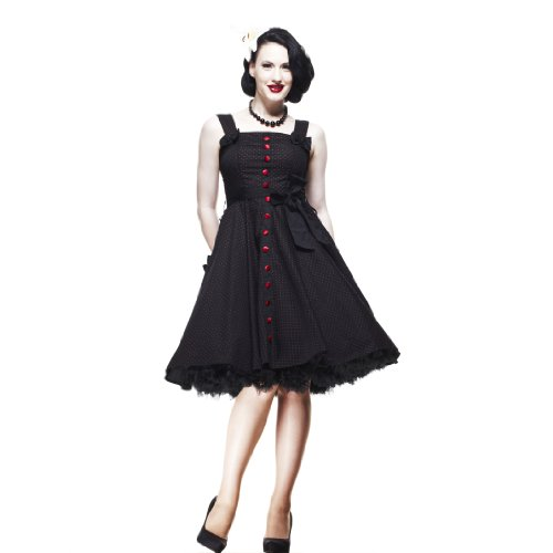Hell Bunny Kleid GERY 50'S POLKADOT DRESS black/red Black/Red