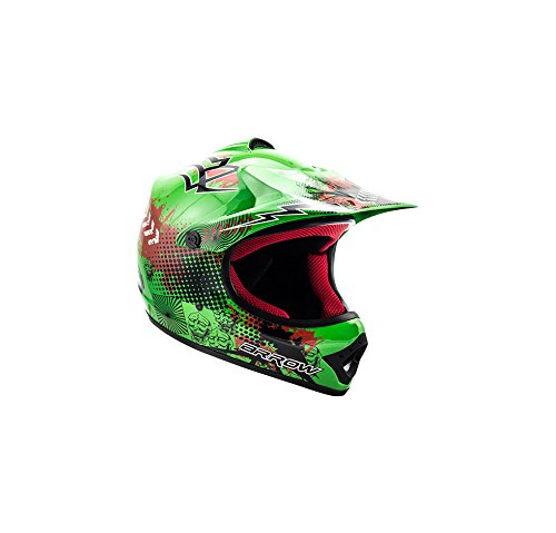 "ARMOR · AKC-49 ""Green"" (Grün) · Kinder-Cross Helm · Sport Off-Road Kinder Moto-Cross Enduro Motorrad · DOT certified · Click-n-Secure™ Clip · Tragetasche · M (55-56cm)"