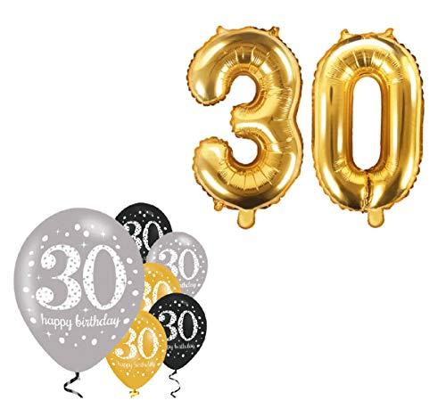 Feste Feiern Geburtstagsdeko 30. Geburtstag I 8 Teile Zahlenballon Luftballon Folie Zahl 30 Gold Schwarz Silber metallic Deko-Set Happy Birthday (Party Dekorationen Pink, Schwarz Silber Und)