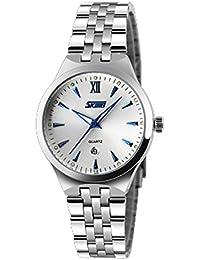 ufengke® color de la banda de acero deportes impermeable calendario reloj de pulsera-azul para las mujeres