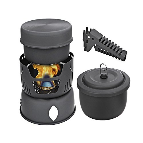 Ezyoutdoor 10Pcs Portable Outdoor Camping Cooking Set Cookware 2-4 Persons Picnic Pots Pan Alcohol Stove