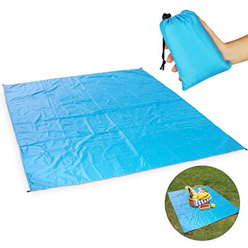 Manta de picnic, Impermeable Anti-Arena Manta Ideal para la Playa, Picnic, Parque, Camping Al Aire Libre , Grand 79\'\'x79\'\' (Azul)