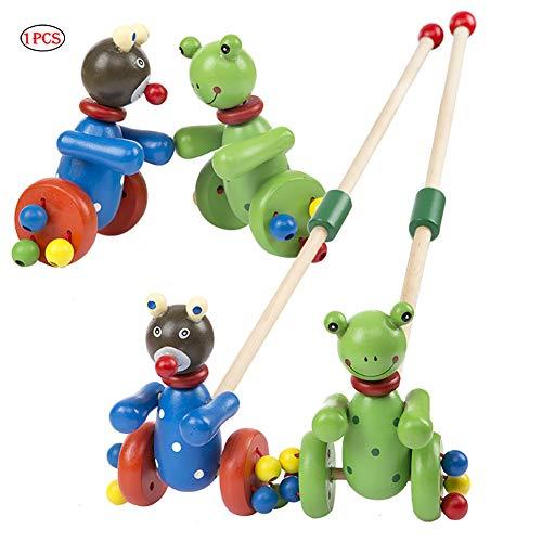 Tirer des jouets en bois push Double Rod Jouets d'enfants Goes mignons animaux jouets pour les enfants