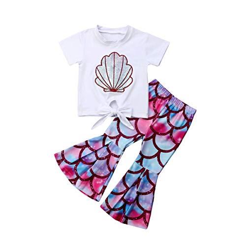 Kleinkind Baby Mädchen Meerjungfrau Outfits Baumwolle Kurzarm T-Shirt Top + Fischschuppen Glocke Lange Hosen Kostüm Kleidung Sets für 0-5Jahre (4-5j, Weiß) (Kleinkind Meerjungfrau Outfit)