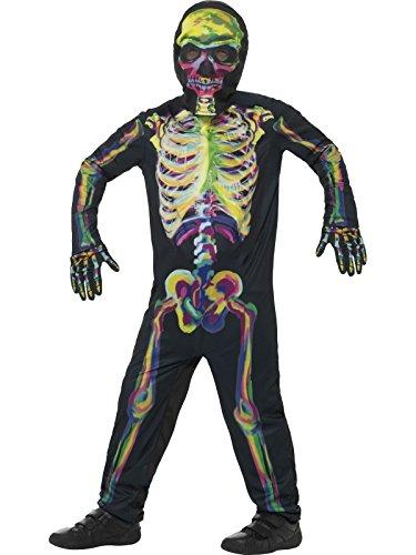 Smiffys, Kinder Unisex Skelett Kostüm, Leuchtet im Dunkeln, Ganzkörper Anzug, Maske und Handschuhe, Alter: 7-9 Jahre, (Skelett Kostüme Glow)
