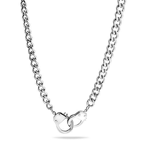 Bling Jewelry Arbeiten Partner In Der Kriminalität Handschellen Statement-Halskette Für Herren Für Damen Edelstahl