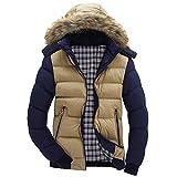 BaZhaHei Herren Mantel Männer-Jungen-beiläufige warme mit Kapuze Winter-Reißverschluss-Mantel Outwear-Jacken-Spitzen-Bluse Wärmejacke Jackenständer Zipper Warm Gesteppt Outwear Mantel
