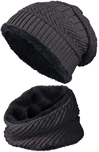 warm gefütterte Beanie + Schal mit Teddy-Fleece Fütterung mit Flechtmuster Wintermütze Einheitsgröße für Damen & Herren Mütze (4A) (Dunkelgrau/Schwarz) -
