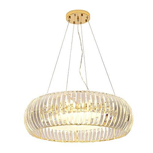 ZZZ Restaurante araña poste redondo lámpara de cristal moderna villa de diseño sala de estar dormitorio habitación habitación lámpara luz cálida LED nano chapado láser corte araña de cristal Candelabr