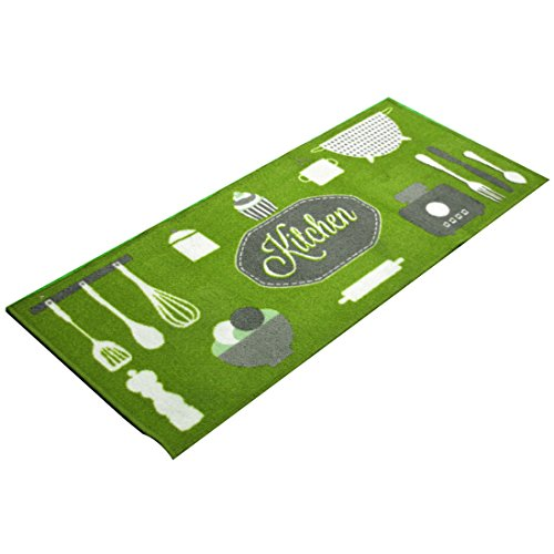 Carpemodo Küchenteppich Muster: Kitchen, Farbe: Grün, Größe: 50x120 cm