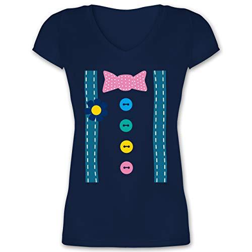 (Karneval & Fasching - Clown Kostüm - L - Dunkelblau - XO1525 - Damen T-Shirt mit V-Ausschnitt)
