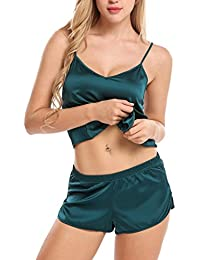 Scallop Mujer Ropa de Dormir Camisón Conjunto de Pijama Satén 2 Piezas Topa&Pantalones Abierta