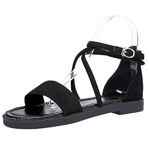 hunpta Women Flat Sandals Cross Straps Leather Open Toe Buckle Low Heel Sandals (38, Black)