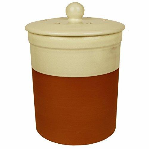 terracotta ceramic kitchen compost caddy cream colour chetnole ceramic composting bin for food