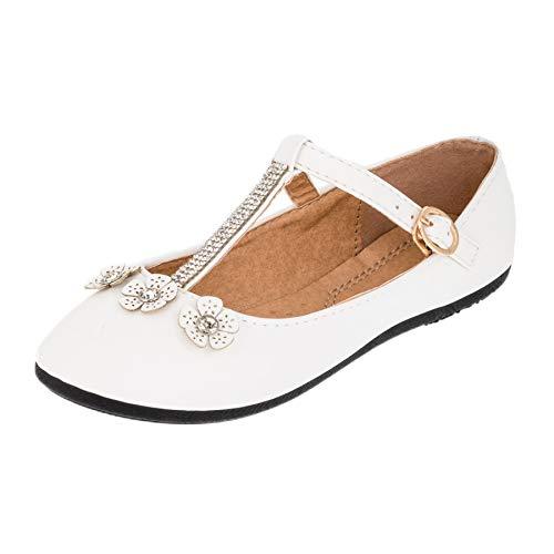 Bo Aime Festliche Kinder Mädchen Ballerinas Schuhe mit Zierblumen und Strass M510ws Weiß 33 EU