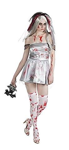 Halloweenia - Damen Halloweenkostüm Bloody Bride , Weiß, Größe XL (Monster Bride Kostüm Make-up)