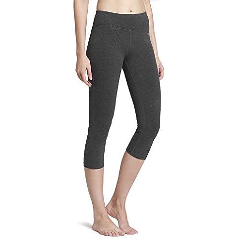 Baleaf 1320806–Bañador de mujer Yoga Capri Leggings pantalones de correr medias, mujer, color Charcoal Gray, tamaño small