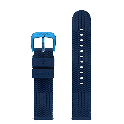 DETOMASO Uhrenarmband Silikon-Armband 20mm 22mm 24mm mit Schnellwechsel Federsteg und Dornschließe (20mm, blau - hell Blaue Schließe)
