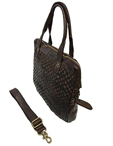 651d3910f0c69 Damen Tasche Orione Paul.hide Beutel Handtasche Schultertasche Vintage  Geflochten Geflochtene Gewaschenes Leder Made In ...