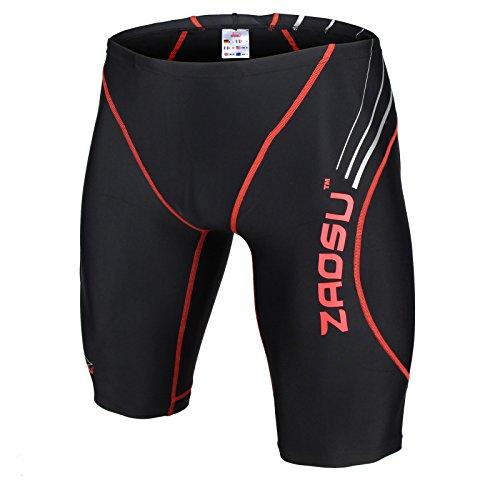 ZAOSU Wettkampf-Schwimmhose Z-Black - Badehose für Jungen und Herren, Größe:5, Farbe:schwarz/rot