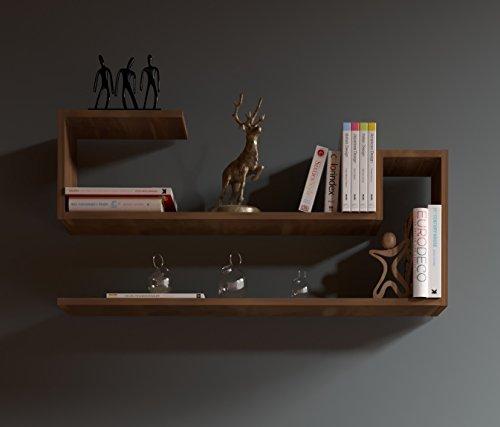 WAVE Étagère murale - Noyer - étagère à livres pour décoration de salon en bois dans un design moderne …
