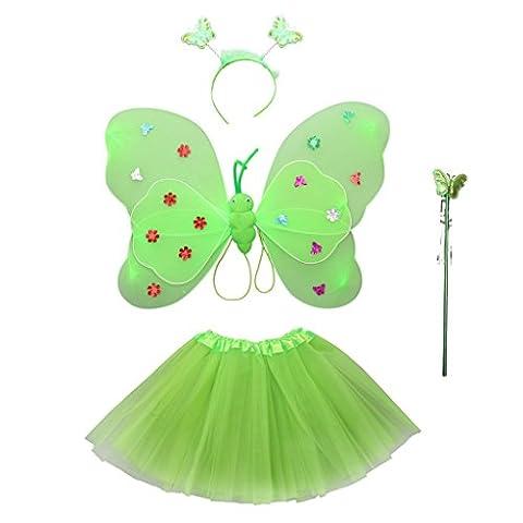 Sharplace Fille Costume de Fée Jupe Tutu+ Aile Papillon +Baguette +Bandeau D'antenne pour Halloween - Vert