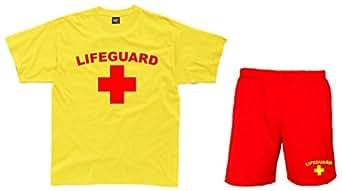 LIFEGUARD Mens Yellow T-Shirt & Red Shorts (2XL)