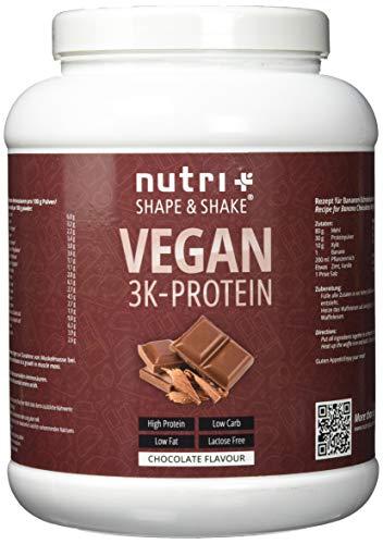 PROTEINPULVER VEGAN Schokolade 1kg - 80,2{4d562ce7ce3524e84debfca542c6bdb3056b680a962bcd92d0cdfd1b2d1bc9bf} Eiweiß - Shape & Shake ® 3k-Protein Chocolate Powder - Veganes Eiweißpulver Schoko ohne Laktose - in Deutschland hergestellt