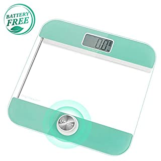 Aigostar Mermaid Digital Weighing Scales 33LDH - Body Weight Bathroom Scales, Environmentally Friendly No-Battery Step-On Technology to Turn on, Large LCD Display, Tempered Glass.